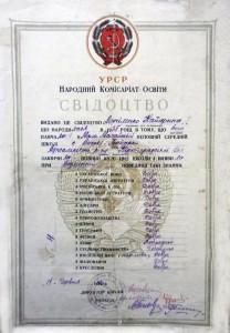 Свідоцтво про закінчення Мало-Мамайської НСШ (1940 р.)